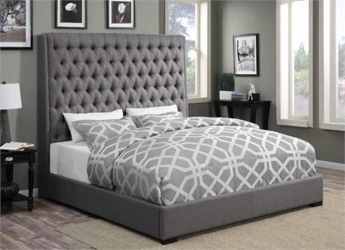 Camille Grey Upholstered Bed,300621 coaster