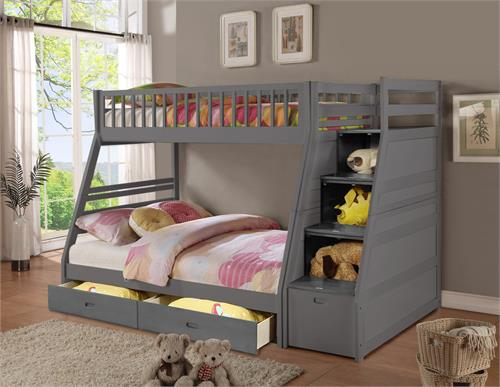 Dakota Rustic Grey Staircase Twin Full Bunk Bed