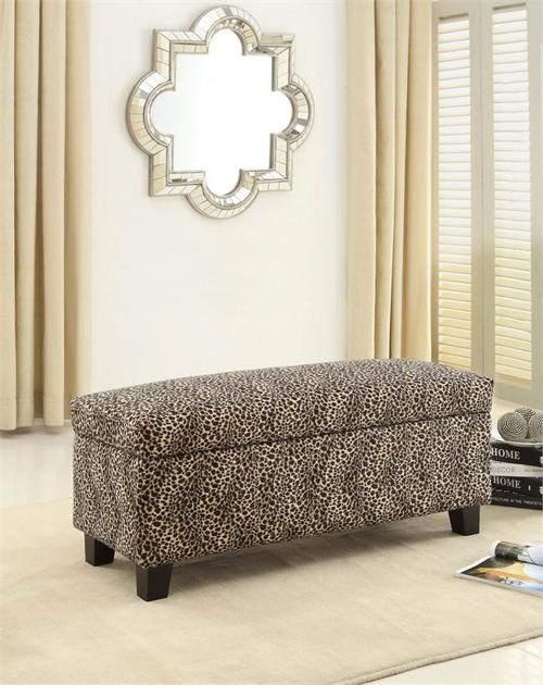 Excellent Leopard Print Storage Bench Clair Collection Inzonedesignstudio Interior Chair Design Inzonedesignstudiocom
