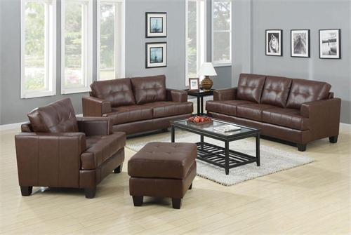Brown Leather Living Room Set   Samuel Collection ...