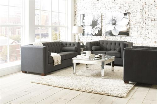 Cairns Charcoal Sofa Set Collection,504901 coaster,504901 sofa,charcoal sofa,504902 coaster,504903 coaster
