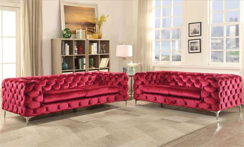Adam Acme Red Velvet Sofa & Loveseat