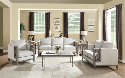 Artesia Collection Fabric & Salvaged Natural Finish Sofa Set