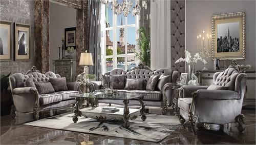 Versailles Velvet Upholstered and Antique Platinum Finish Livingroom Set