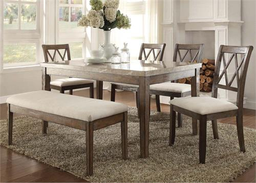 71715 Acme Claudia Real Marble Dining Set