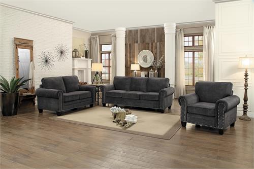 Cornelia Dark Grey Sofa Set Collection,8216 homelegance,8216dg-3 homelegance
