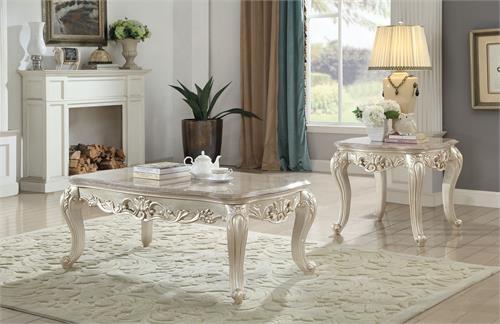 Gorsedd Collection Antique White Finish Occasional Set