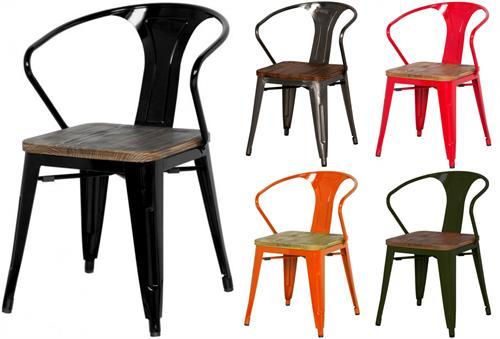 Metropolis Metal Arm Chair Wood Seat Item 938730