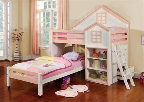 Citadel White Twin/Twin Loft Bed House Design ...