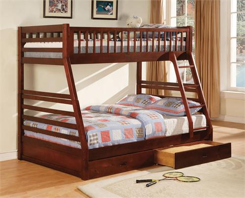 California II Twin/Full Bunk Bed with 2 Drawers CM-BK601EX,CM-BK601EX furniture of america