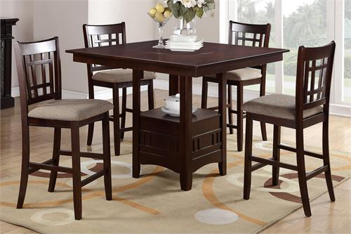 Square Counter Height Dining with Buit-in Lazy Susan Poundex F2346