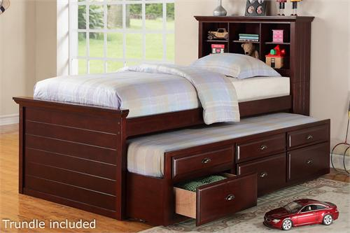 Cherry Twin Bed With Bookcase Headboard And Trundle With Storage Item #  F9220