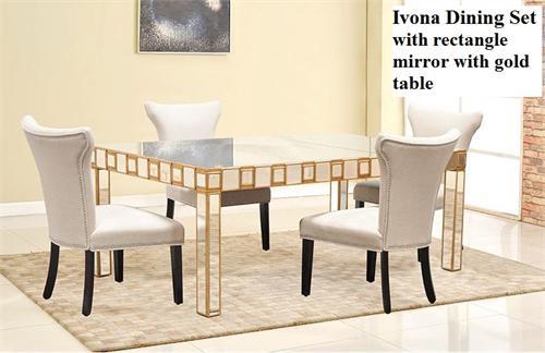 Ivona Mirror Dining Set,YJ003 Best Master Furniture,mirrored Table