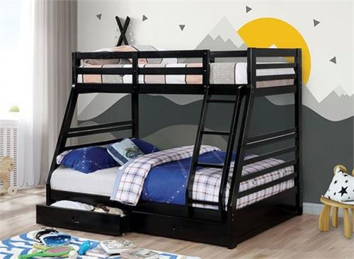 California III Twin/Full Bunk Bed with 2 Drawers CM-BK588BK,cm-bk588bk furniture of america