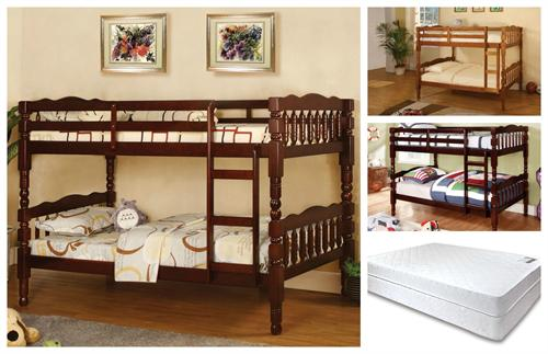 Cm Bk606 Twin Twin Bunk Bed With 2 Twin Mattress Package