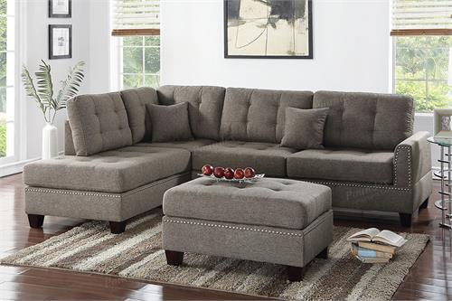 Sectional Sofa Reversible Poundex F6504