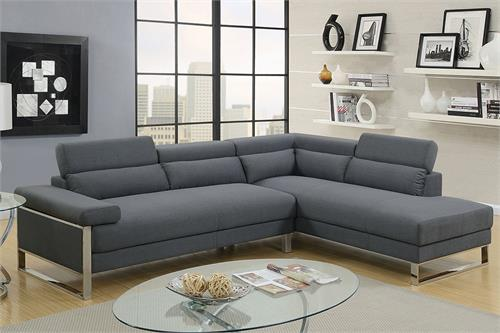 Sectional Sofa Charcoal Poundex F6539