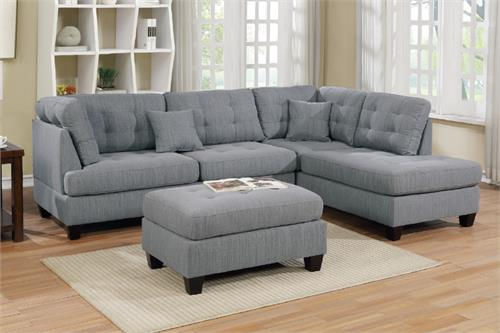 Sectional Sofa Reversible With Ottoman Poundex F6581,f6581 poundex
