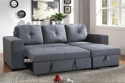 Sectional Reversible With Pull Out Bed Poundex F6910