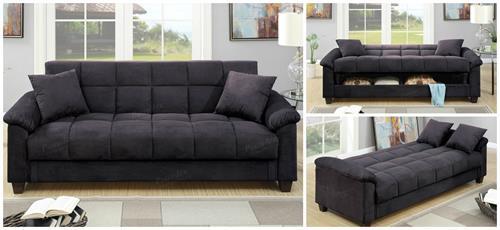 F7888 Poundex Ebony Microfiber Adjustable Sofa