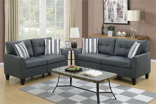 Charcoal Sofa and Loveseat Set Poundex F6533,f6533 poundex