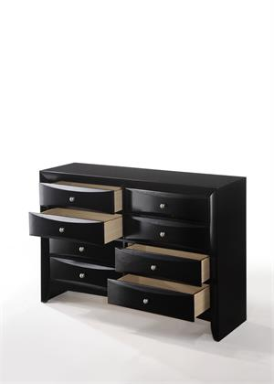 Ireland Black Dresser Acme Item 04165 drawers open