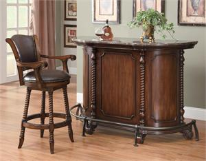 Marble Top Cherry Bar Unit 100678 and Bar Stool Item 100179 by Coaster Furn