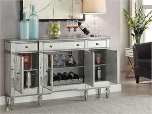 Mirrored Buffet Cabinet 102595 by Coaster Furniture - Open Doors View