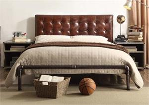Brancaster Vintage Brown Top Grain Leather Queen Bed,26210 acme,26210Q,26210Q acme