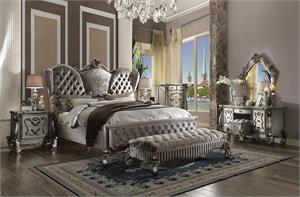 Versailles Collection Velvet Antique Platinum Finish Bedroom Set