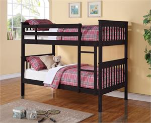 Black Twin over Twin Bunk Bed 460234,item 460234 by coaster