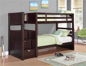 Elliott Bunk Bed with storage,cappuccino finish, by Coaster