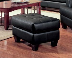 Black Leather Ottoman - Samuel Collection