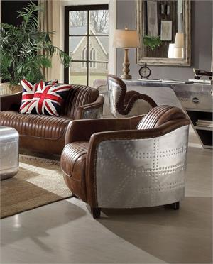 Retro Brown Top Grain Leather & Aluminum Chair,53547 acme