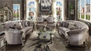 Versailles Oversized Velvet and Antique Platinum Finish Sofa Set