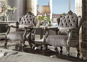 Versailles Oversized Velvet and Antique Platinum Finish Accent Chair