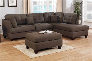 Sectional Sofa Reversible with Ottoman Poundex F6582,f6582 poundex