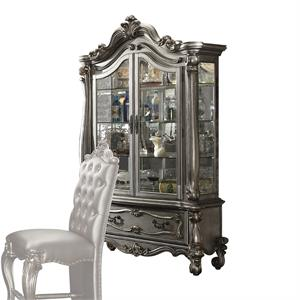 Versailles Collection Antique Platinum Finish Curio Cabinet 66838