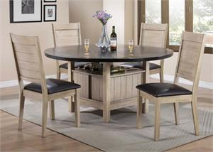 Ramona Antique Beige Dining Set Built-In Lazy Susan,72005 acme