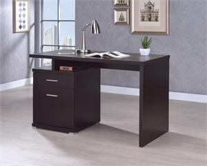 Irving 2-drawer Office Desk with Cabinet Cappuccino by Coaster 800109