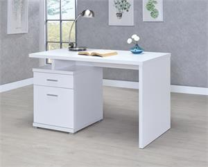 Irving 2-drawer Office Desk with Cabinet White by Coaster 800110