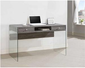 Dobrev 2-drawer Writing Desk Weathered Grey and Clear Glass by Coaster 800818