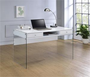 Dobrev 2-drawer Writing Desk Glossy White and Clear Glass by Coaster 800829
