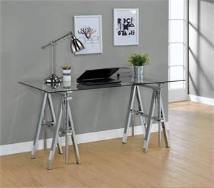 Statham Glass Top Adjustable Writing Desk Clear and Chrome by Coaster 800900