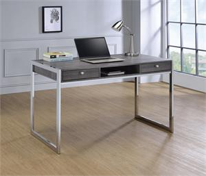 Wallice 2-drawer Writing Desk Weathered Grey and Chrome by Coaster 801221