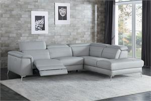 Cinque Gray Leather Sectional,8256gy sectional,8256 sectional, 8256 homelegance
