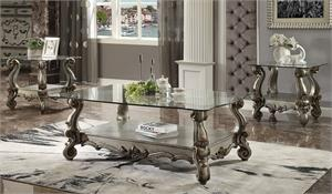 Versailles  Antique Platinum Finish Glass Top Coffee Table Set