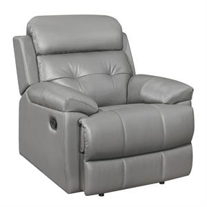 Lambent Gray Top Grain Leather Match Recliner Sofa Collection,9529gry-1 homelegance