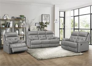 Lambent Gray Top Grain Leather Match Recliner Sofa Collection