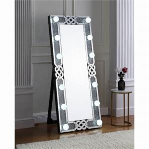Wall Mirror with Faux Diamond and LED Light, 97758 acme